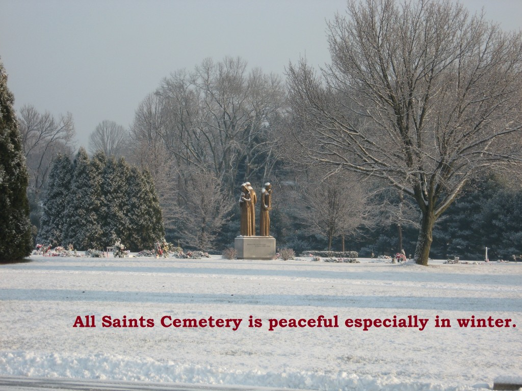 All Saints in Winter with text