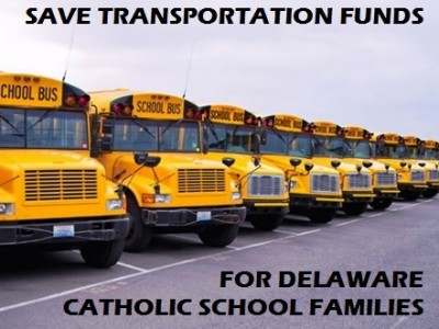 The Delaware General Assembly is back in session and we need your help to save the minimal stipend that help Delaware's Catholic School families. Won't you please take a minute to send an email to your representatives and the Governor and urge them to keep the transportation stipend? Even if you sent an email to your representative in the past, we are asking you to do it again.