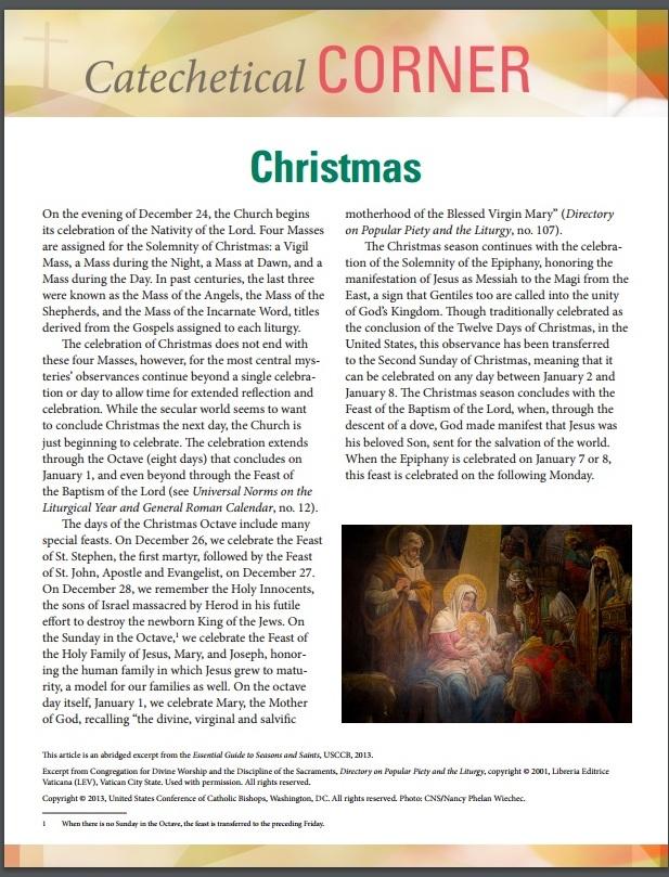 Christmas Catechetical Corner