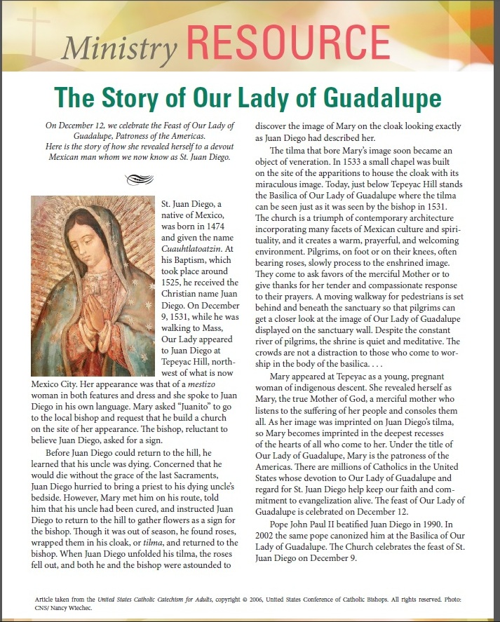The Story of Our Lady of Guadalupe English