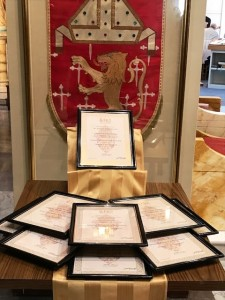 Certificates designating the nine official historic churches
