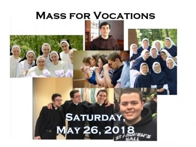 Gather to support discernment and encourage a response to the call to the priesthood and religious life at a Mass for Vocations on Saturday, May 26, 2018 at the Cathedral of St. Peter, Sixth and West Streets in Wilmington. Families, individuals, youth groups, school groups, religious education classes, young adult groups, prayer groups, communities of religious sisters and brothers, priests, seminarians, all are welcome.