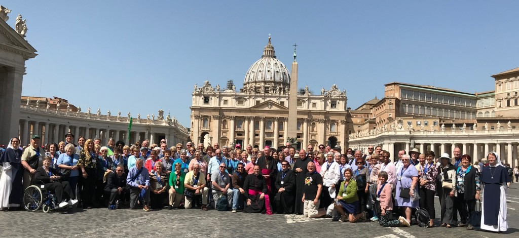 Pilgrims from across the Diocese of Wilmington pose for a group photo in St. Peter's Square.