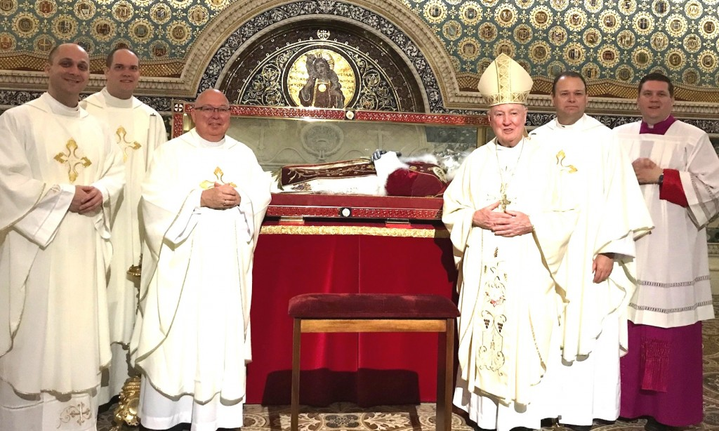 Priests who participated in the Sesquicentennial Pilgrimage before the tomb of Blessed Pius IX, at the Basilica of Saint Lawrence outside the Walls, Rome, Italy. Pius IX founded the Diocese of Wilmington on March 3, 1868. (L-R) Rev. John Solomon, Rev. Glenn Evers, Rev. James Kirk, Bishop W. Francis Malooly, Rev. Msgr. Steven Hurley, Very Rev. Joseph W. McQuaide, IX