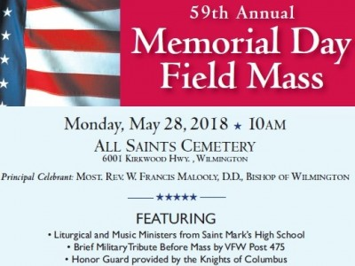 Student liturgical and music ministers from Saint Mark's High School in Wilmington will join the Most Reverend W. Francis Malooly, Bishop of the Catholic Diocese of Wilmington, for the 59th Annual Memorial Day Field Mass at All Saint's Cemetery, 6001 Kirkwood Highway, Wilmington, Delaware, on Monday, May 28, 2018 at 10:00 a.m. The annual Mass honors all the deceased of the Diocese of Wilmington, especially those who served in the military, heroes who died in the service of our country, […]